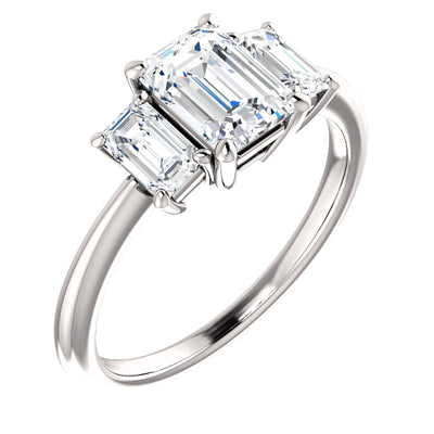2.80 Ct. 3 Stone Emerald Cut Diamond Engagement Ring G Color VVS1 GIA certified