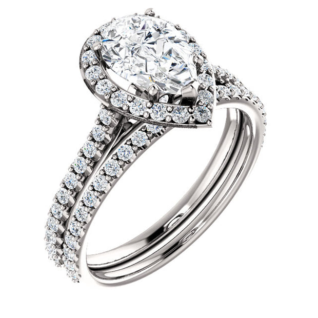 2.40 Ct. Halo Pear Cut Diamond Ring & Matching Band G Color VS2 GIA Certified