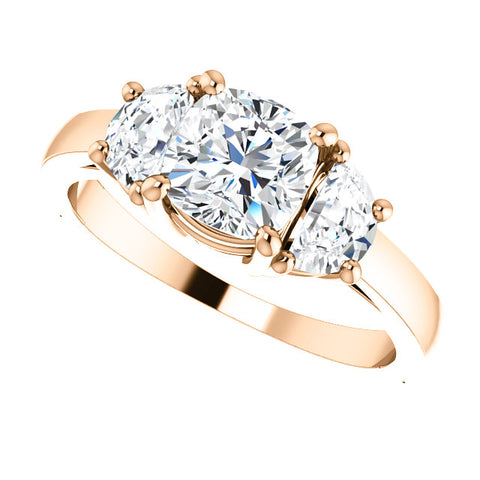 3.60 Ct. Cushion Cut n Half Moons 3 Stone Diamond Ring I Color VS2 Clarity GIA Certified