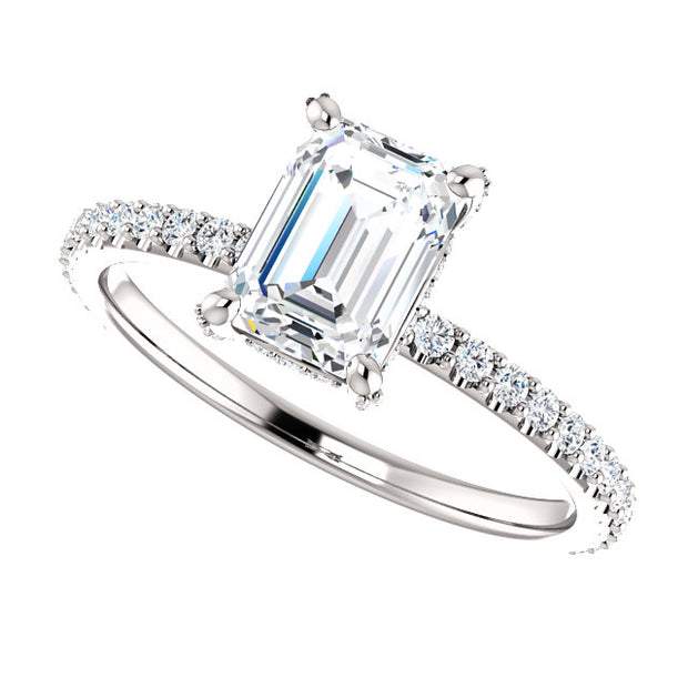 1.70 Ct. Under Halo Emerald Cut Diamond Ring w Matching Band E VS2 GIA Certified