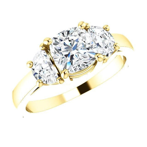 3 Stone Diamond Ring Cushion Cut n Half Moons yellow gold