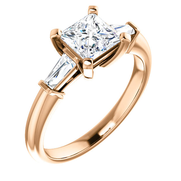 1.30 Ct. Princess Cut w Baguettes 3 Stone Diamond Ring E Color VS1 GIA Certified