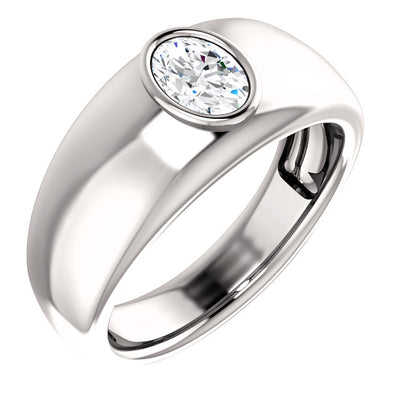 Men's Oval Cut Diamond Ring Bezel Set white gold