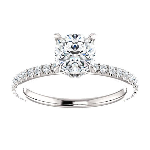 1.40 Ct Galaxy Cushion Cut Diamond Engagement Ring E Color VS2 GIA Certified