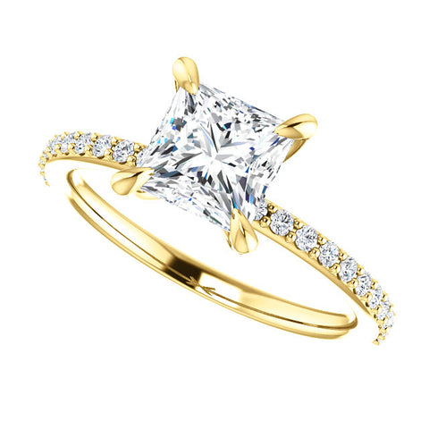 2.60 Ct. Classic Princess Cut Diamond Ring w Matching Band I VS1 GIA certified