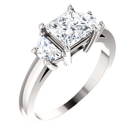 1.00 Ct. 3 Stone Princess Cut w Half Moons Diamond Ring F Color VVS2 GIA certified