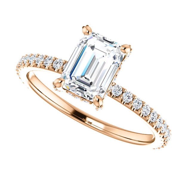 1.20 Ct. Diamond Basket Emerald Cut Diamond Engagement Ring H Color VS1 GIA Certified
