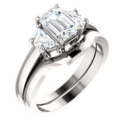 1.50 Ct. 3 Stone Emerald Cut & Half Moons Diamond Ring E Color VS1 GIA Certified