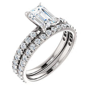 French Pave Emerald Cut Diamond Engagement Ring Set white gold