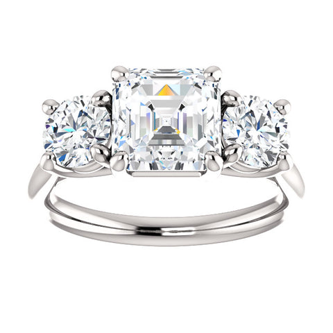 2.60 Ct. 3 Stone Asscher Cut & Rounds Diamond Engagement Ring GIA Certified