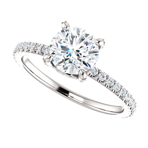1.90 Ct. Round Cut Hidden Halo Diamond Engagement Ring Set F Color SI1 Clarity GIA Certified