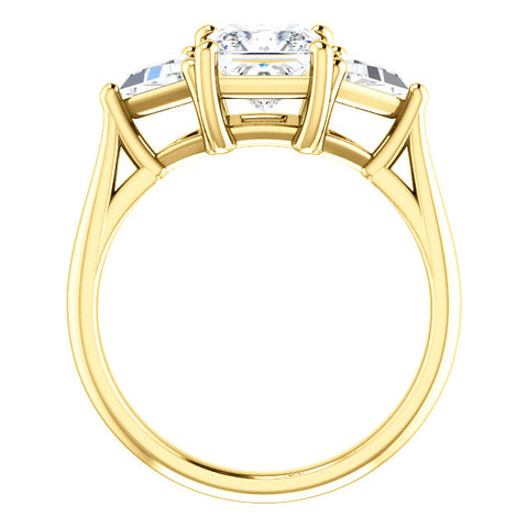 Princess w Trillion Cut 3 Stone Diamond Ring yellow gold side view