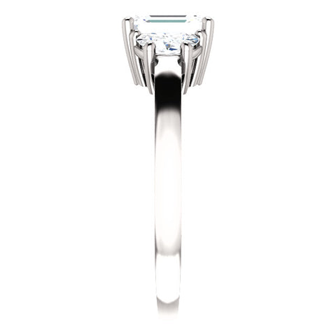 1.70 Ct. 3 Stone Emerald Cut & Half Moons Diamond Ring F Color VS2 GIA Certified