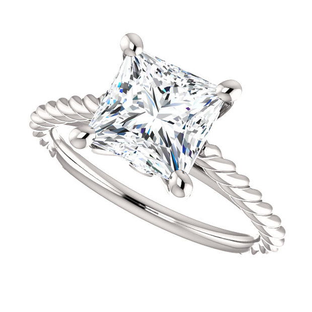 0.80 Ct. Princess cut Rope Style Diamond Engagement Set D Color VS1 GIA Certified