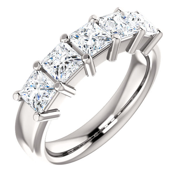 2.00 Ct. Shared Prong Princess Cut 5 Stone Diamond Ring VS2 Clarity