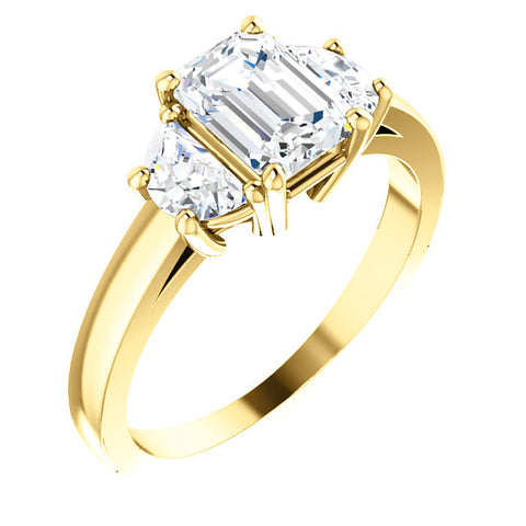 2.10 Ct. 3 Stone Emerald Cut & Half Moons Diamond Ring I Color VS1 GIA Certified