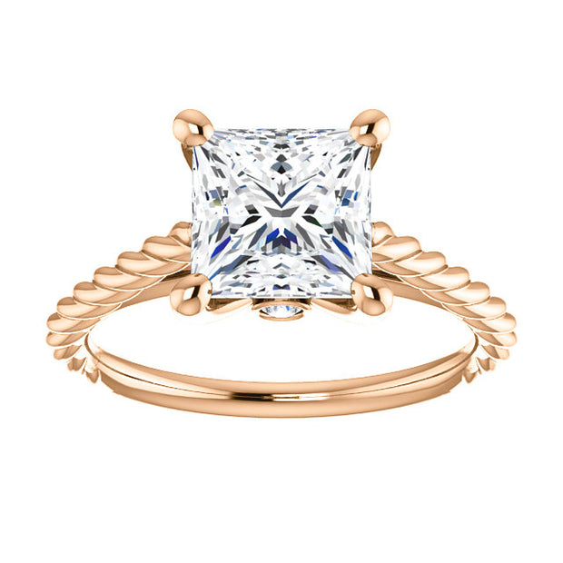 1.10 Ct. Princess cut Rope Design Diamond Engagement Set E Color VS1 GIA Certified