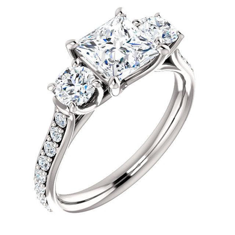 3 Stone princess Cut w Rounds Diamond Ring in White Gold
