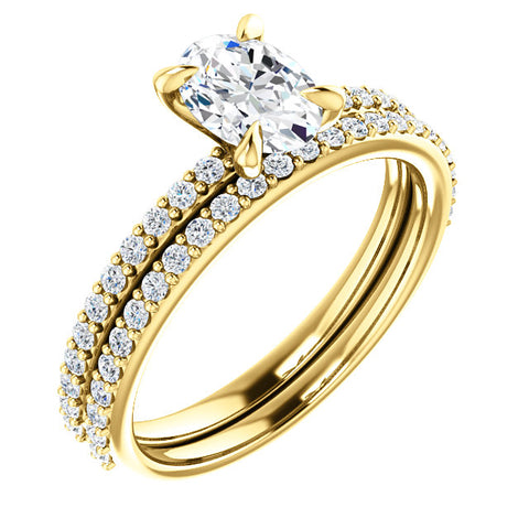 2.00 Ct. Oval Cut Diamond Ring w Matching Band GIA Certified H Color VS2 GIA Certified