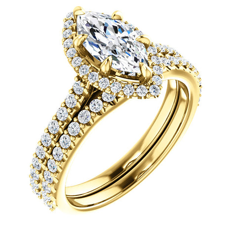 3.10 Ct. Halo Marquise Cut Diamond Ring w Matching Band H VS1 GIA Certified
