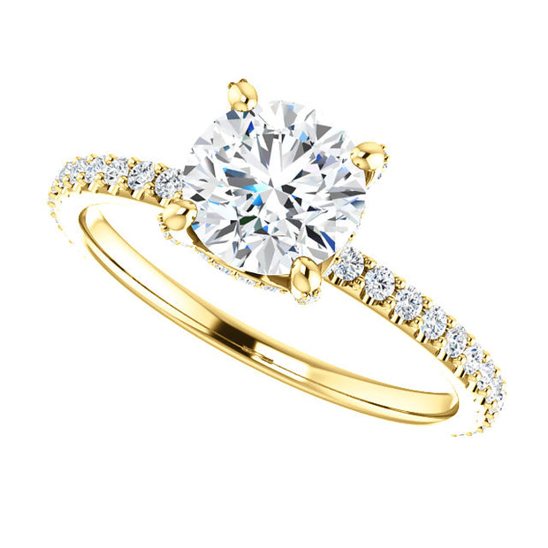 1.90 Ct. Round Cut Hidden Halo Diamond Engagement Ring Set H Color VS2 Clarity GIA Certified