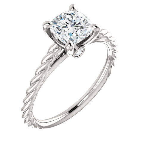 1.30 Ct. Cushion Cut Infinity Rope Diamond Engagement Set H Color VS2 GIA Certified