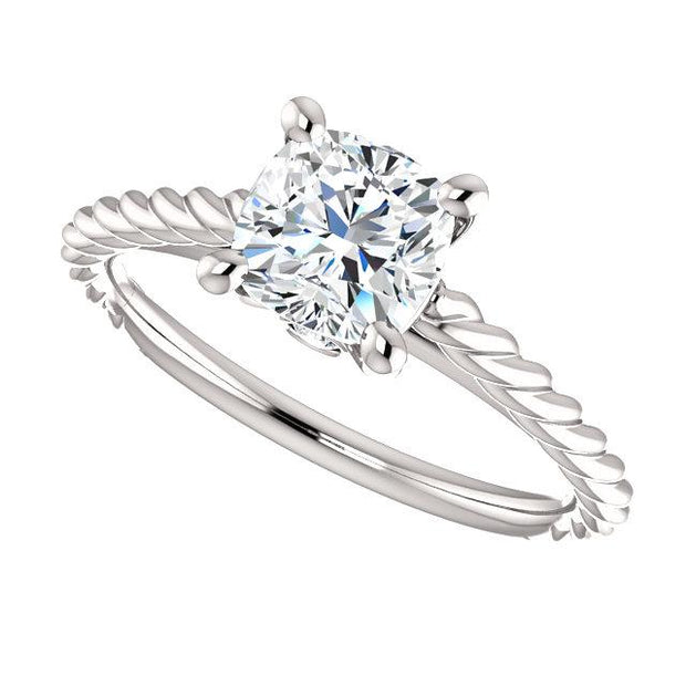 1.00 Ct. Cushion Cut Infinity Rope Diamond Engagement Set D Color VS2 GIA Certified