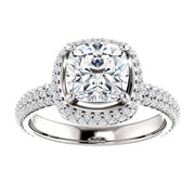 3.05 Ct. Cushion Cut Diamond Halo Engagement Ring J Color VS1 GIA Certified