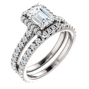 3.30 Ct. Halo Emerald Cut Diamond Engagement Ring Set I Color VVS2 GIA Certified