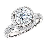 3.05 Ct. Cushion Cut Diamond Halo Engagement Ring F Color VS1 GIA Certified