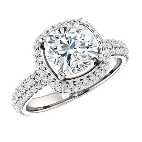 2.25 Ct. Cushion Cut Diamond Halo Engagement Ring I Color IF GIA Certificate