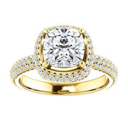 2.55 Ct. Cushion Cut Diamond Halo Engagement Ring H Color VS2 GIA Certified