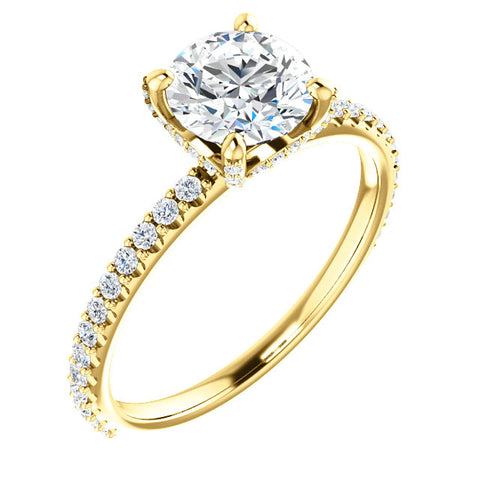 1.50 Ct. Under Halo Round Cut Diamond Engagement Ring G Color VS2 GIA Certified