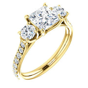 3 Stone princess Cut w Rounds Diamond Ring in yellow Gold