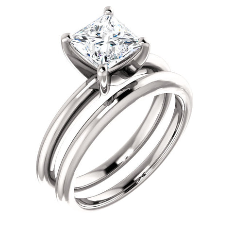 2.00 Ct. Princess Cut Diamond Solitaire Ring and Matching Band F Color VS2 GIA Certified
