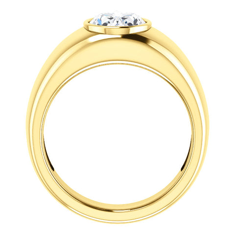 0.75 Ct. Men's Oval Cut Solitaire Diamond Ring G Color VS1 Clarity
