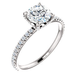 2.10 Ct. Round Cut Hidden Halo Diamond Engagement Ring Set F Color VS2 GIA Certified