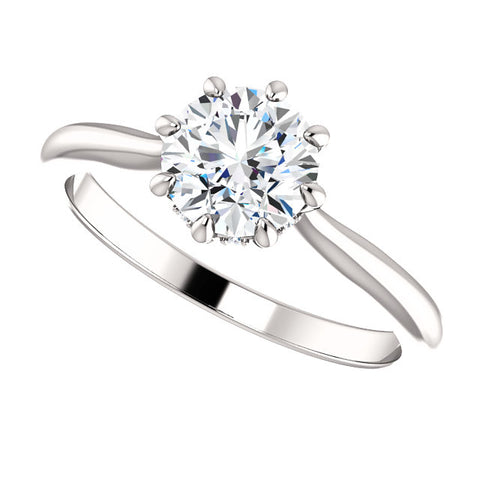 1.55 Ct. Round Cut 8 Prong Diamond Engagement Ring H Color SI1 GIA Certified