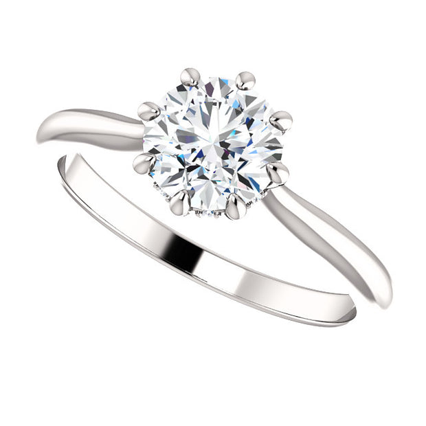 1.05 Ct. Round Cut 8 Prong Diamond Engagement Ring G Color SI1 GIA Certified