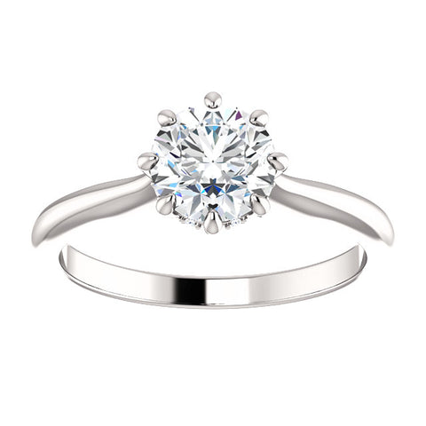 1.05 Ct. Round Cut 8 Prong Diamond Engagement Ring H Color SI1 GIA Certified