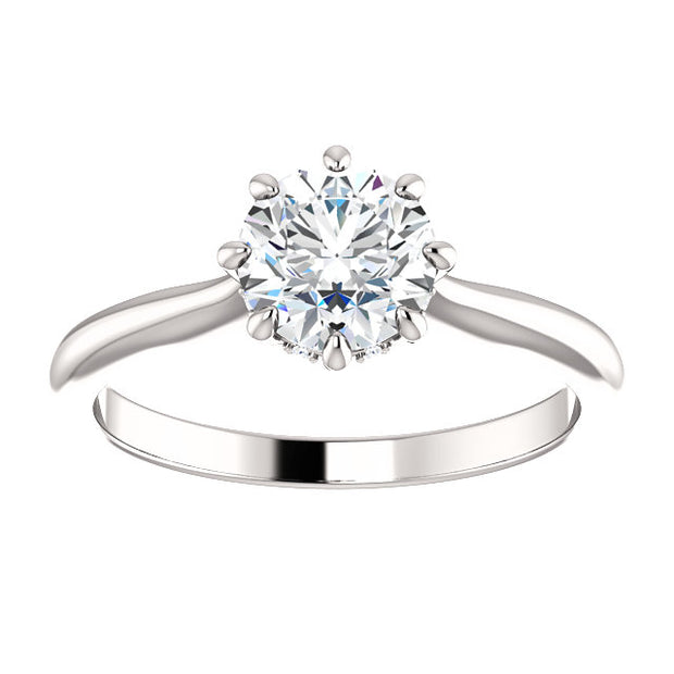 1.55 Ct. Round Cut 8 Prong Diamond Engagement Ring G Color SI1 GIA Certified