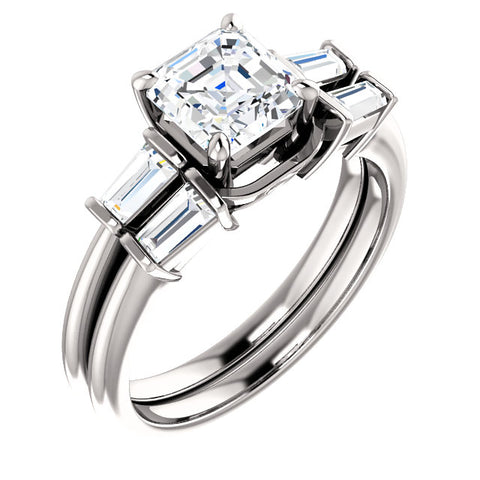 1.40 Ct. Asscher Cut & Baguette Diamond Bridal Set H VS2 GIA Certified