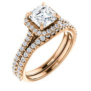 2.00 Ct. Halo Asscher Cut Diamond Engagement ring, Bridal Set GIA Certified F/VS2