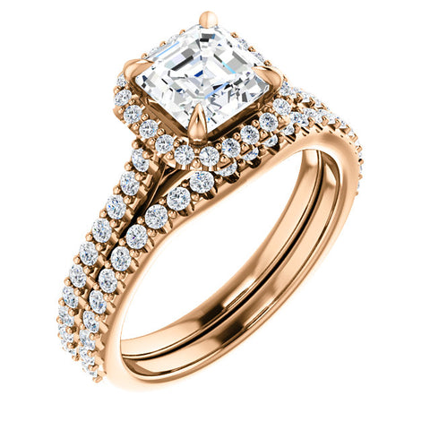 1.60 Ct. Halo Asscher Cut Diamond Engagement Ring w Matching Band H Color VS1 GIA Certified