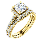 2.15 Ct. U-Setting Halo Asscher Cut Diamond Engagement Ring G Color VS1 GIA Certified