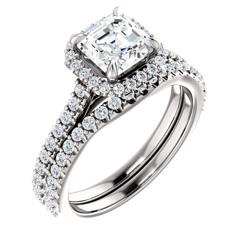 1.60 Ct. Halo Asscher Cut Diamond Engagement Ring w Matching Band GIA H/VS2