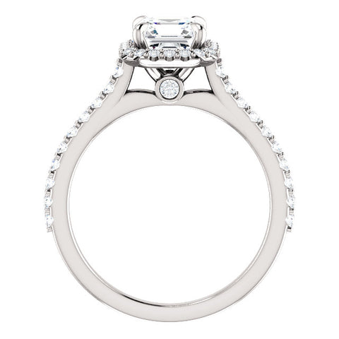 2.00 Ct. Asscher Cut Halo Diamond Engagement Ring Set F Color VS2 GIA Certified