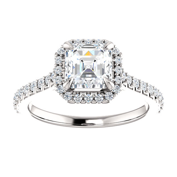 2.70 Ct. Asscher Cut Halo Diamond Engagement Ring Set I Color VS2 Clarity GIA Certified