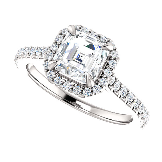 2.20 Ct. Asscher Cut Halo Diamond Engagement Ring Set H Color VS2 GIA Certified