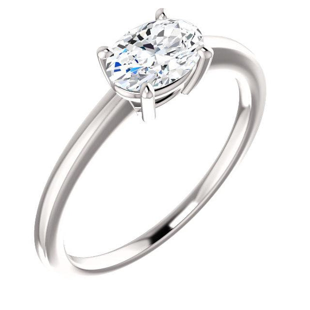East West Oval Cut Diamond Solitaire Ring